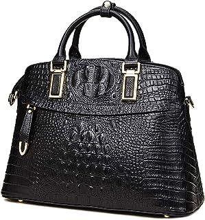 Genuine Leather Top-Handle Bags for Women Full Grain Cowhide Embossed Crocodile Purse and Handbags