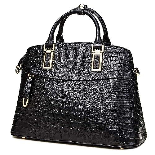 830d8d33 Genuine Leather Top-Handle Bags for Women Full Grain Cowhide Embossed Crocodile  Purse and Handbags