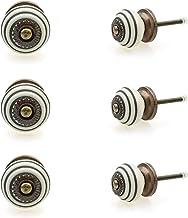 Möbelknopp möbelknopp möbelhandtag uppsättning av 6 KLEIN 128GN_SM cirklar ringar vita – jay knapp keramik porslin handmål...