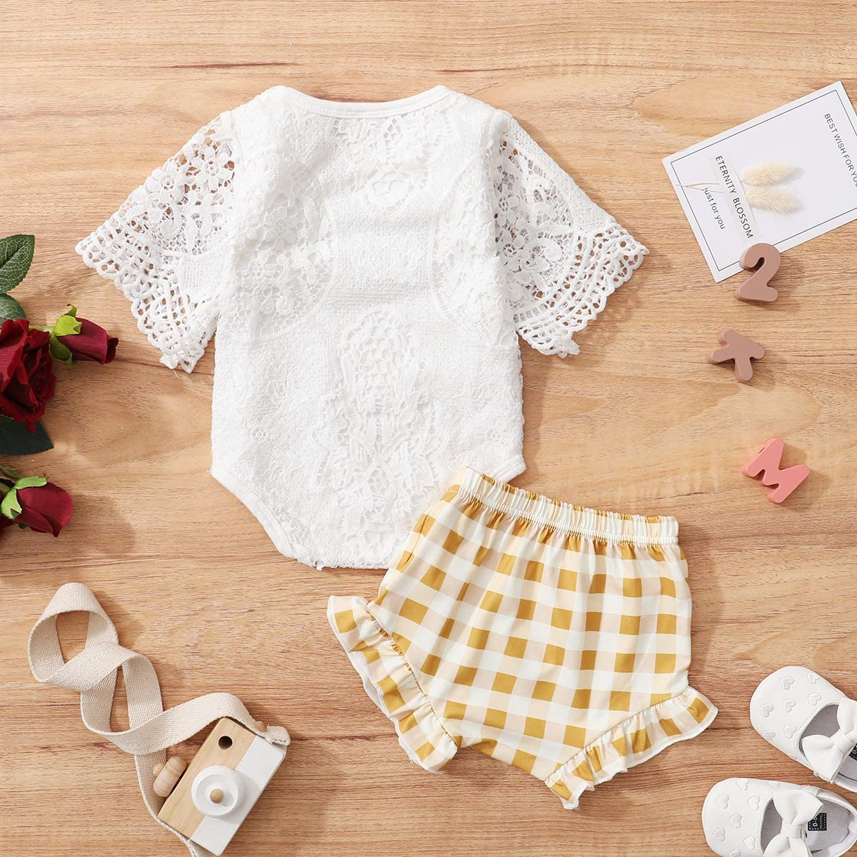 BRICUTESK Baby Girl Summer Clothes Toddler Outfits Infant Baby lace Romper Top+Shorts Set 2pc