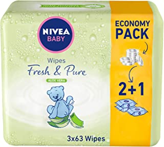 NIVEA, Baby, Wipes, Fresh & Pure, 3 x 63 Wipes