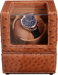 Watch Winder for Automatic Watches Premium PU Ostrich Leather with Quiet Japanese Mabuchi Motor AC or Battery Powered