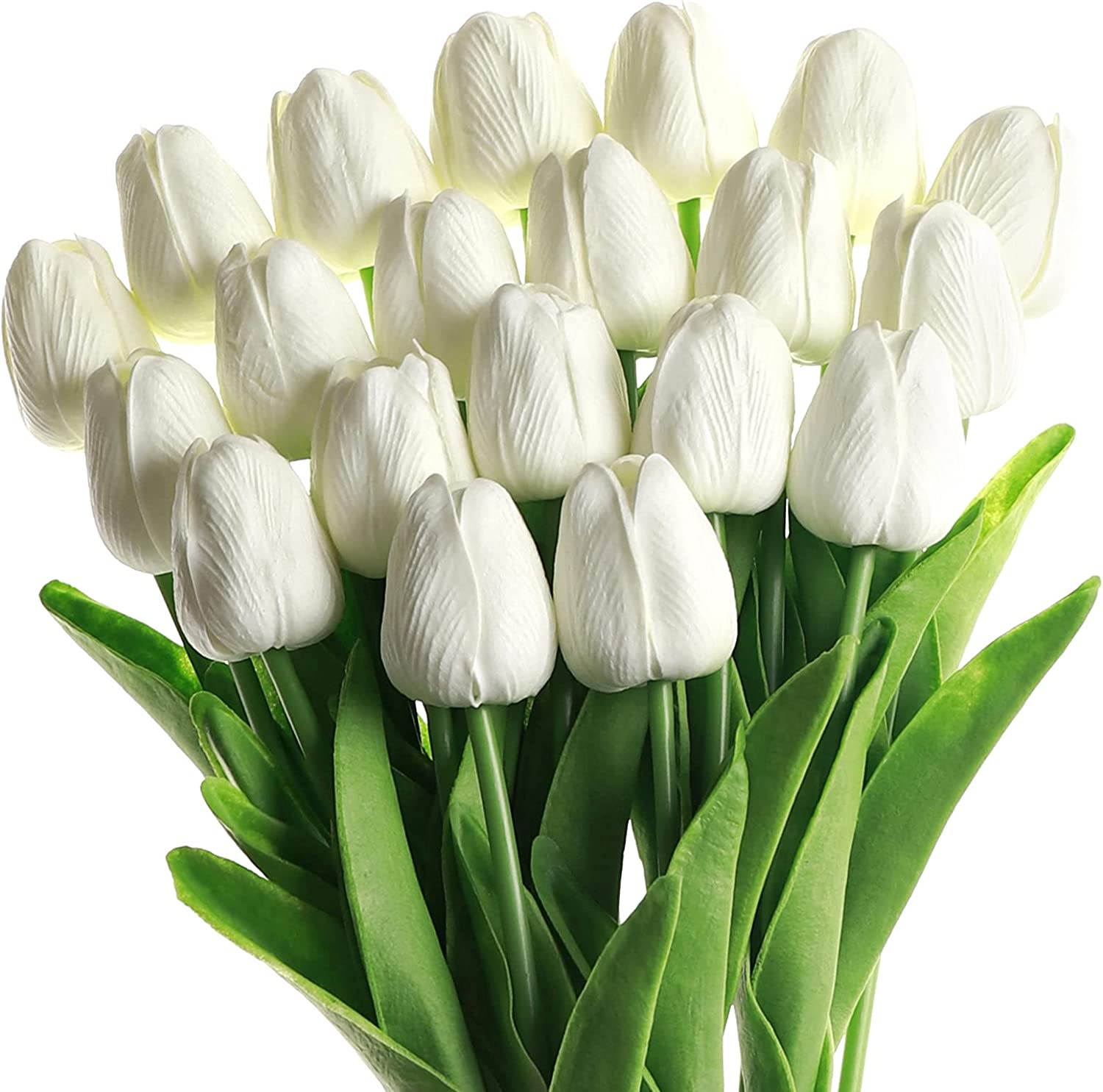SOJIRUSPA White Tulips Artificial Flowers 20 Pcs Fake Tulips PU Real Touch Tulip Fake Flowers for Home Office Wedding Decor Artificial Tulips Flower Arrangement Bouquet Faux Flowers for Decoration