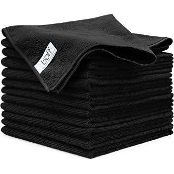 "Buff Microfiber Cleaning Cloth | Black (12 Pack) | Size 16"" x 16"" | All Purpose Microfiber Towels - Clean, Dust, Polish, Scrub, Absorbent"