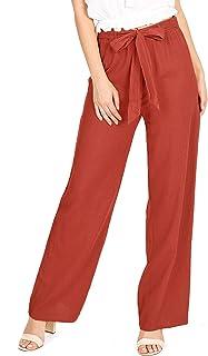 Ambiance Apparel Women's Juniors Wide Leg Spring Linen Pants