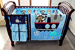 BabyCrib Unique Cute Adorable, Elephant, Monkey, Blue Sea Whale, 10 Piece Bedding Set, Including Crib Bumper, Diaper Stacker, and Bonus Baby Monthly Milestone Blanket For Newborn Baby Boy.