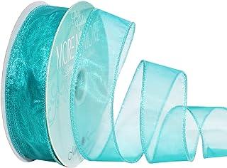 Morex Ribbon Wired 1-Inch Chiffon Ribbon with 25-Yard Spool, Aqua