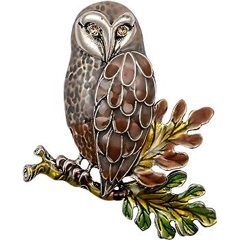Hiddeston Enamel Fleck Owl Brooch Pin Bird Halloween Accessories Costume Creepy Animal Jewelry for Women Her