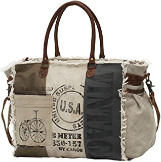 s USA Stamped Upcycled Canvas Weekender Bag M-0751