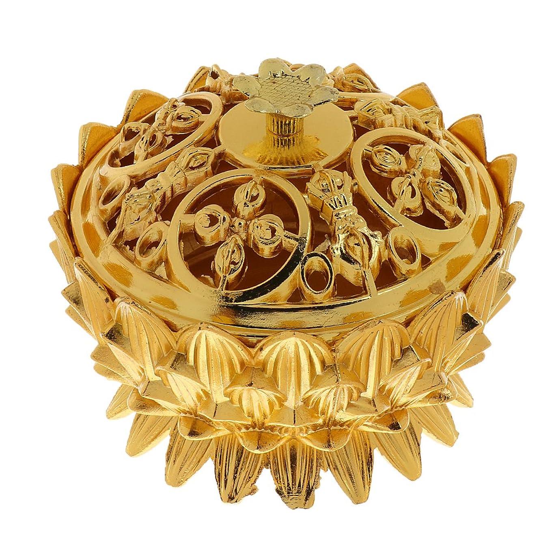 アンプおいしい懇願するFenteer 合金 ロータス フラワーデザイン 香炉 香りバーナー コーンホルダー クラフト 全3選択 - #3