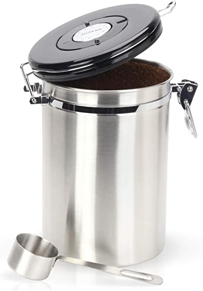 Gorgeous Coffee Canister Stainless Steel Storage Container With Scoop Keeps Your Coffee Airtight Fresh And Flavorful