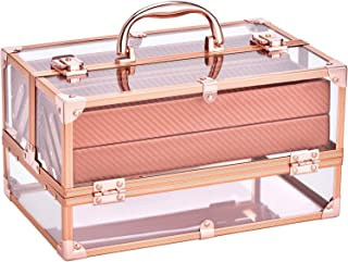 Makeup Box Rose Gold Perfect Gift Beauty Cosmetic Box Portable 4 Tier Trays Jewelry Storage Organizer with Lockable Portable for Women and Girls Frenessa