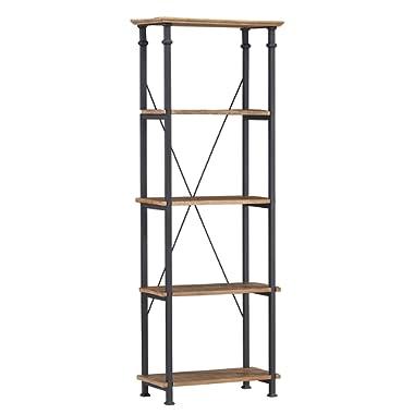 Homelegance Factory 4-Teir Bookcase, Rustic Brown