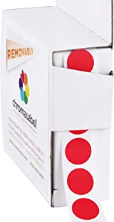 ChromaLabel 1/2 inch Removable Color-Code Dot Labels | 1,000/Dispenser Box (Red)
