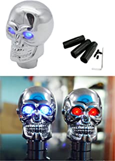 EKYAOMEI Skull Chrome Gear Shift Knob Automatic TransmissionStick Shifter Lever Head With Red Led Light (Blue)