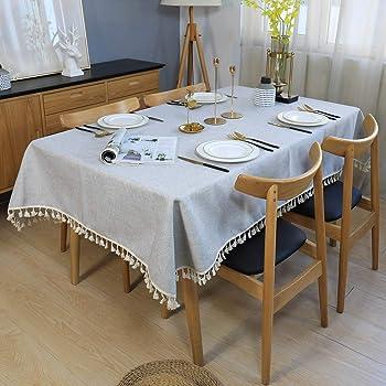 Pom Pom Tassel Fringe Tablecloth Rectangle Table Cloth Covers Cotton Linen Decor