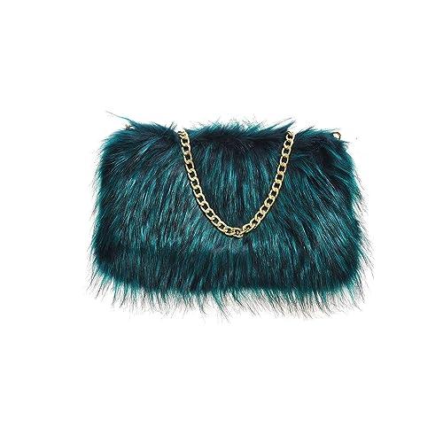 808de2300f4f Designer Soft Fluffy Feather Faux Fur Clutch Bag Purse Chain Runway