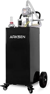 Arksen 30 Gallon Portable Gas Caddy Fuel Storage Tank Large Gasoline Diesel Can Hand Siphon Pump Rolling Wheels, Black