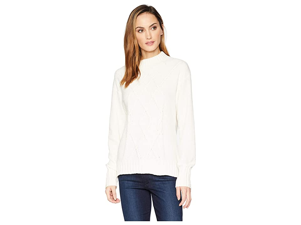 Three Dots Holiday Chenille Mock Neck Sweater (Ivory) Women