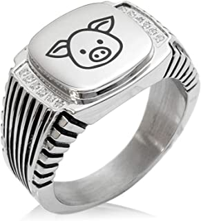Tioneer Stainless Steel Boar icon Minimalist Oval Top Polished Statement Ring