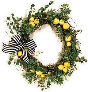 "ChaCha Charm 20"" Lemon Naturals Organic Green Spring Wreath Modern Primitive Farmhouse -by SlDesigns"