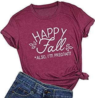 تي شيرت Happy Fall Y'all للسيدات قمصان مضحكة على شكل اليقطين بأكمام قصيرة عطلة كاجوال الخريف طباعة جرافيك تي شيرت