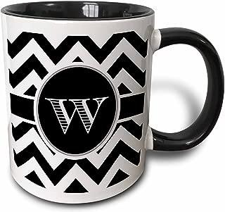 3dRose 222085_4 Black And White Chevron Monogram Initial W Mug, 11 oz