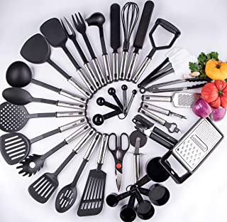 38 kitchen Cooking Utensils,all you need and more in ONE, 38 Stainless Steel and Nylon Kitchen Supplies Non Stick and Heat...