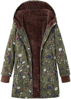 YOcheerful Womens Down Coat Down Jacket Winter Warm Outwear Floral Print Hooded Puffer Coat Plus Size Warm Outerwear