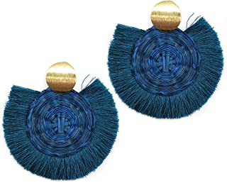 CIOOU Straw Hoop Tassel Earrings Handwoven Wood Straw Earrings for Women