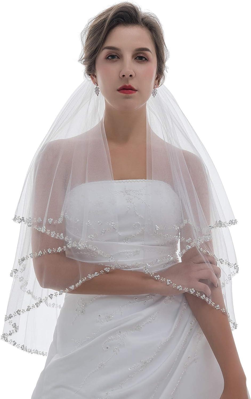 SAMKY 2T 2 Tier Pearls Silver Beaded Bridal Wedding Veil
