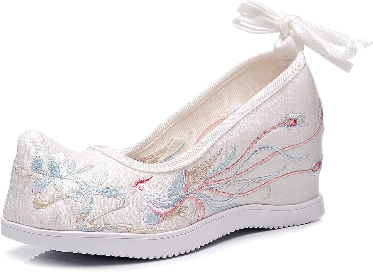 Cheongsam Hanfu Women's Shoes Retro Embroidered Old Beijing Cloth Shoes Girls Dance Shoes - Inner Height 7cm WhiteB-36 EU