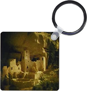 3dRose Mesa Verde Under Cliff National Park Cortez - Key Chains, 2.25 x 4.5 inches, set of 2 (kc_26293_1)