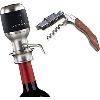 Bundle - 2 items: Aervana Original: Electric Wine Aerator and Pourer - Air Decanter - Personal Wine Tap for Red and White Wine 750ml and 1.5l with Aervana Branded Waiter's Corkscrew