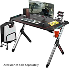 EUREKA ERGONOMIC Gaming Desk RGB Lighting R1-S Gaming Table 44.5'' PC Desk Sturdy Easy to Assemble Computer Desk with Free Mouse pad Cup Holder Headphone Hook for Men Boy Girlfriend Son Daughter Black