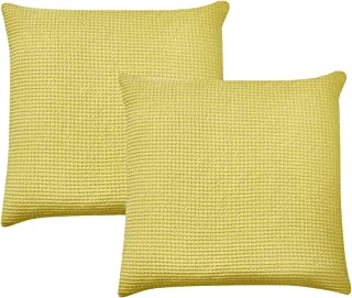 PHF Throw Pillow Cover Waffle 100% Cotton Euro Sham Cover for Bed Couch Sofa Pack of 2 26
