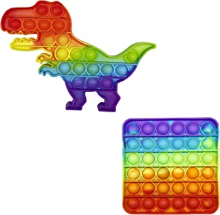 CRAZYCHIC - Pop It Pack Lot de 2 - Popit Push Bubble Fidget Toys - Jouet Jeux Enfant Pas Cher - Poppit Anti Stress Multico...