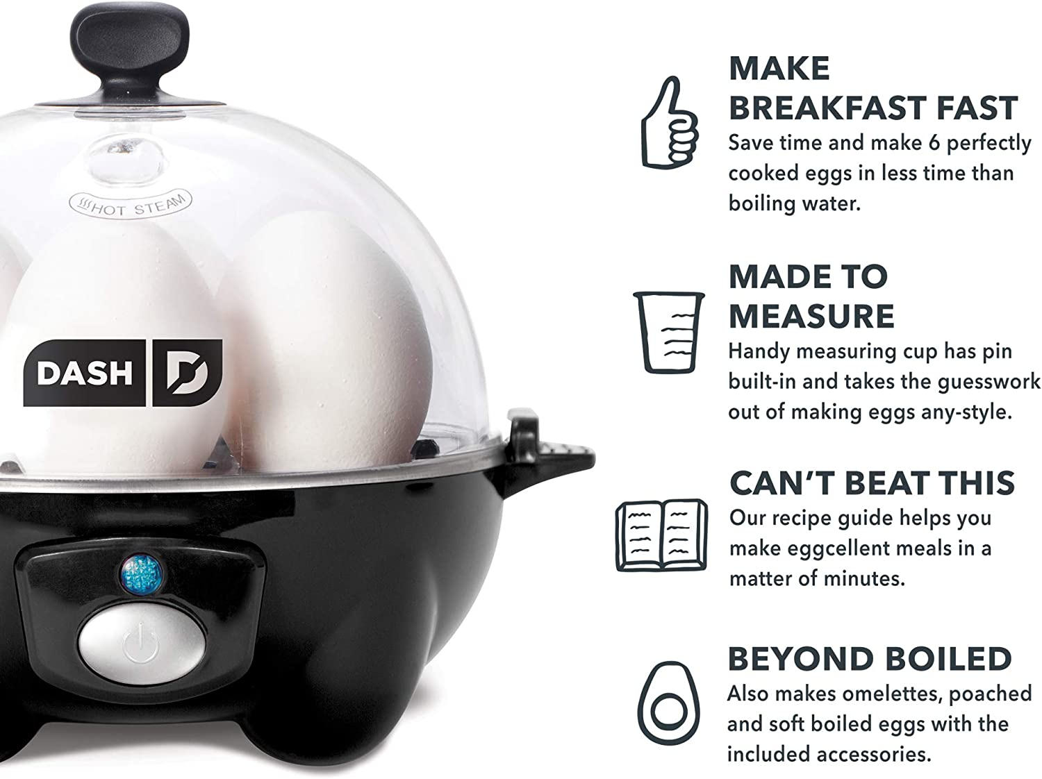 or Omelets with Auto Shut Off Feature One Size Poached Scrambled Eggs DASH black Rapid 6 Capacity Electric Cooker for Hard Boiled