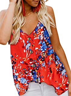 HOTAPEI Women's Casual Spaghetti Strap Button Front Tie Front V Neck Sleeveless Blouses Tank Tops