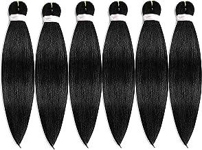 Pre-stretched Braiding Hair Easy Braid Professional Itch Free Synthetic Fiber Corchet Braids Yaki Texture Hair Extensions 6 packs Braid Hair 22 Inch (#1B)