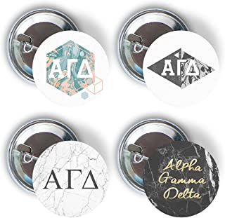 Alpha Gamma Delta Sorority Marble Variety Pack of Buttons Pin Back Badge 2.25-inch Alpha Gam - Marble Pack