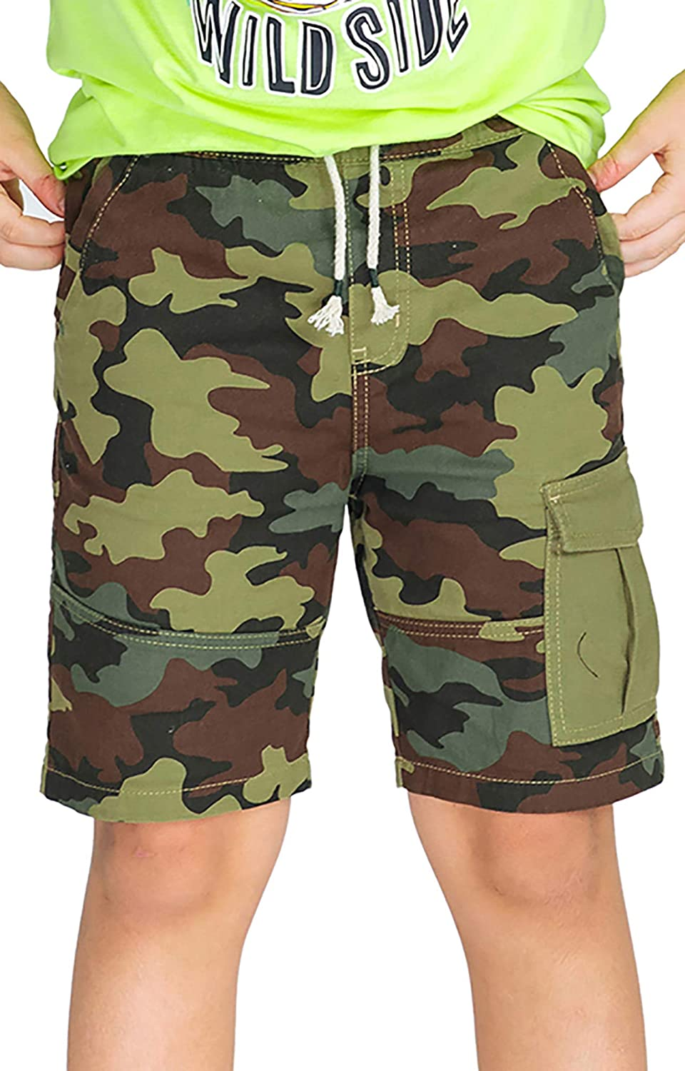 M.D.K Boys Relaxing Camo Camouflage Print Pull On Drawstring Pocket Shorts