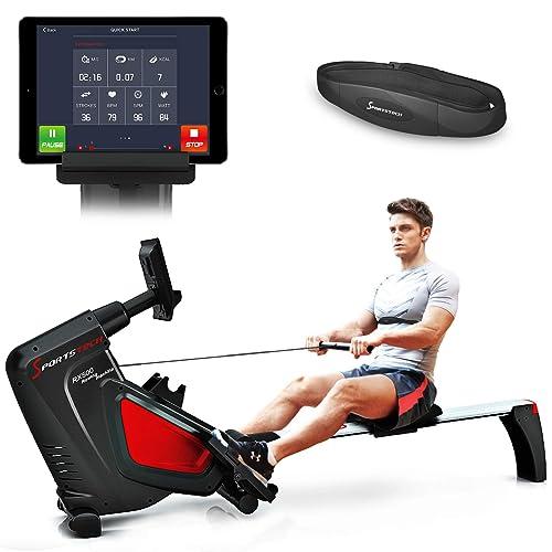 Sportstech VAINQUEUR DE Test Rameur RSX500 ergomètre air + Freins magnétiques, Ceinture Cardio optionnelle, Poids d'inertie 7 kg, Applications Fitness, 16 programmes d'entraînement, Pliable