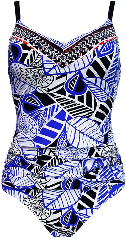 HVBYHF One Piece Blau Print Badeanzug, Damen Badeanzug Sexy Einteilige Badebekleidung Siamesischer Bikini Einteiliger Badeanzug