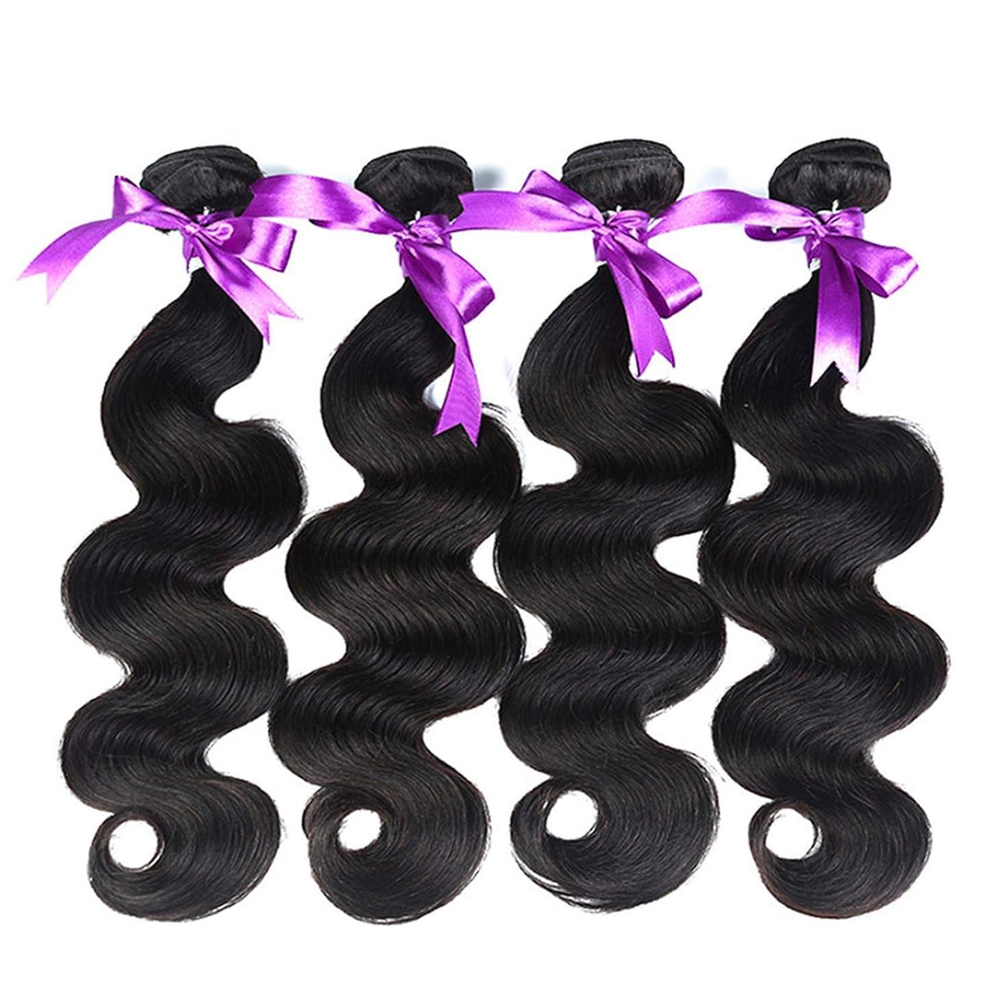 コールド軽く魅了するブラジルの体毛バンドル8-28インチ100%人間の髪織りレミー髪ナチュラルカラー4ピース髪バンドル かつら (Stretched Length : 16 18 20 22)