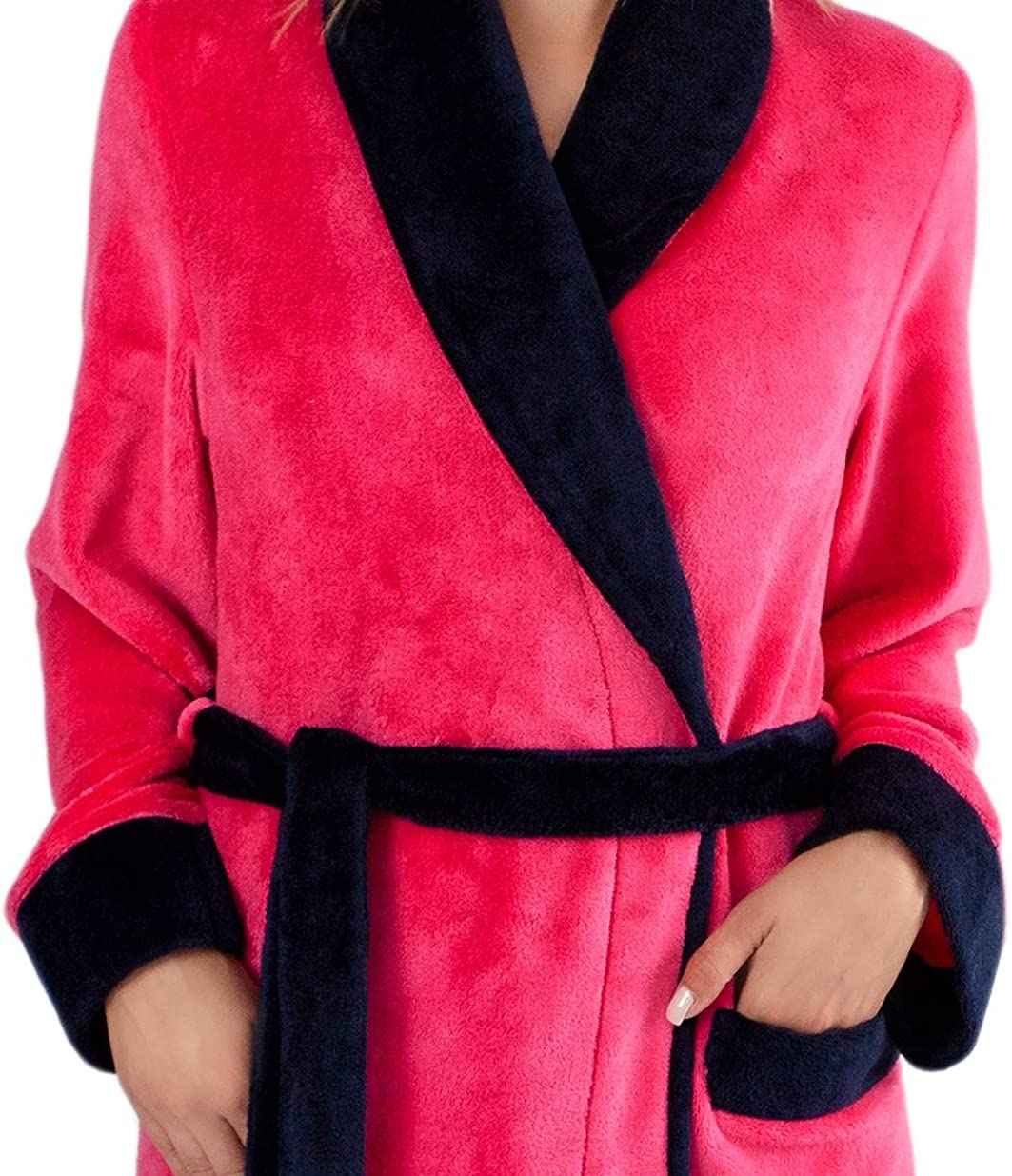 LEVERIE klassischer und kuschelweicher Damen-Bademantel/Morgenmantel/Saunamantel mit Bindegürtel, Taschen und Kapuze oder Reverskragen Modell 3 Pink/Dunkelblau