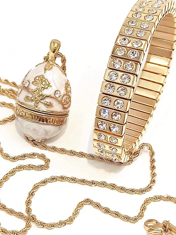 Artisan Luxury White Faberge Egg Pendant NECKLACE BRACELET set gift for her 24k GOLD decor SWAROVSKI Diamond HANDSET Wedding Jewelry for Bridesmaids Adjustable Set Bridal shower Engagement present