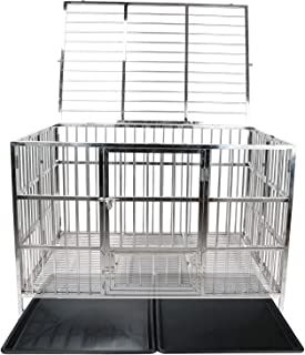 "confote 48"" Heavy Duty Stainless Steel Dog Cage Kennel Crate and Playpen for Training Large Dog Indoor Outdoor with Double Doors & Locks Design Included Lockable Wheels Removable Tray No Screw"