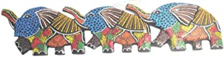 Terrapin Trading Fairtrade Wall Art Animal Wood Carving Handpainted Elephant 50Cm Funky Ornament 809
