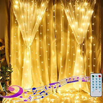 Apatner 6.6FT X 6.6FT Window Curtain Lights Battery Powered Fairy Light